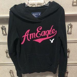 American Eagle Black and Pink Hoodie